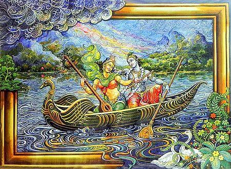 Radha Krishna Enjoying Boat Ride
