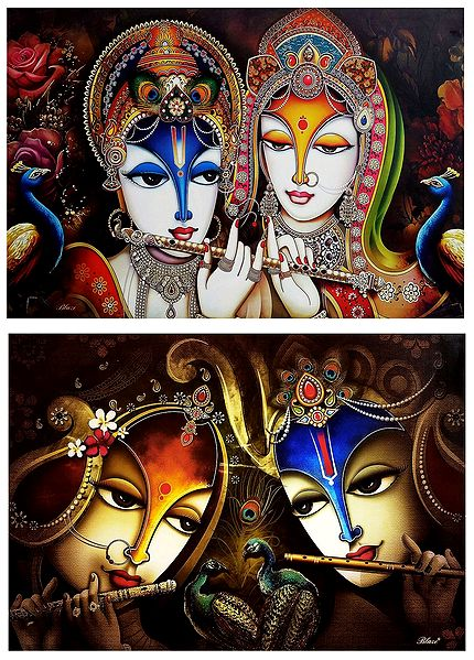 Radha Krishna - The Divine Lovers - Set of 2 Posters