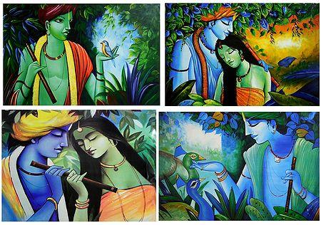 Animal Lover Krishna and Radha Krishna - Set of 4 Posters