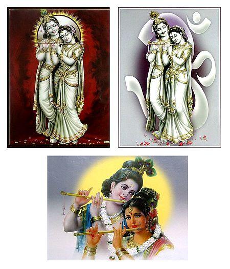 Set of 3 Radha Krishna Posters