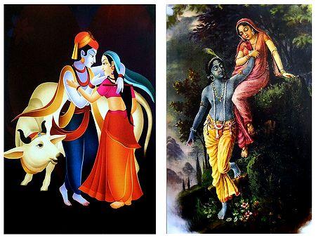 Radha Krishna in a Romantic Mood - Set of 2 Posters