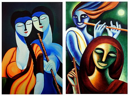Radha Krishna and Krishna Meerabai - Set of 2 Posters