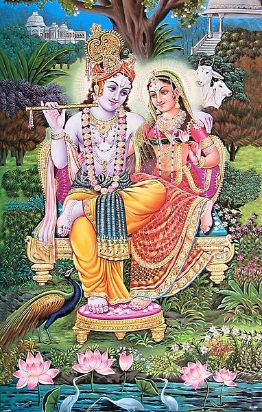 Radha Krishna Sitting on a Throne