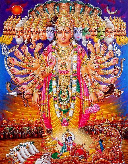 Krishna's Vishwaroop Darshan to Arjuna - Glitter Poster