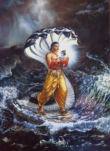 Vasudeva Carries New Born Krishna to Gokul