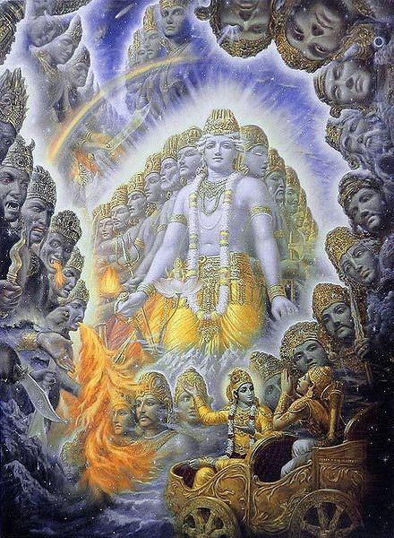 Krishna Shows the Universal Form of Vishwarupa to Arjuna