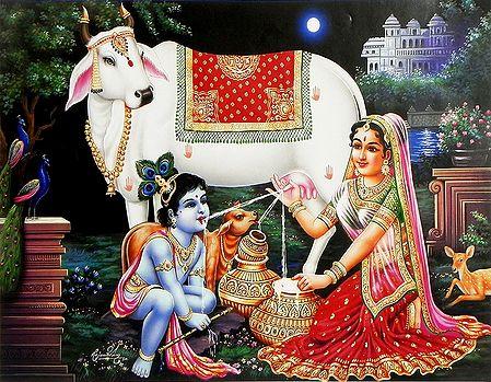 Yashoda Feeding Milk to Krishna Direct from Cow's Udder