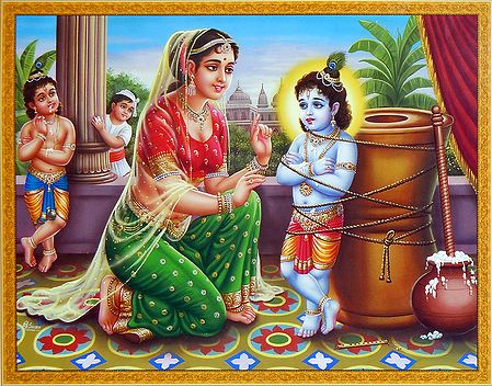 Yashoda Give Punishment to Krishna for Stealing Butter