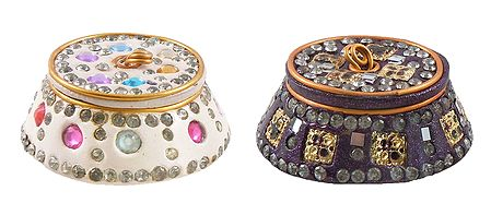 Set of 2 Decorative Metal Kumkum Containers