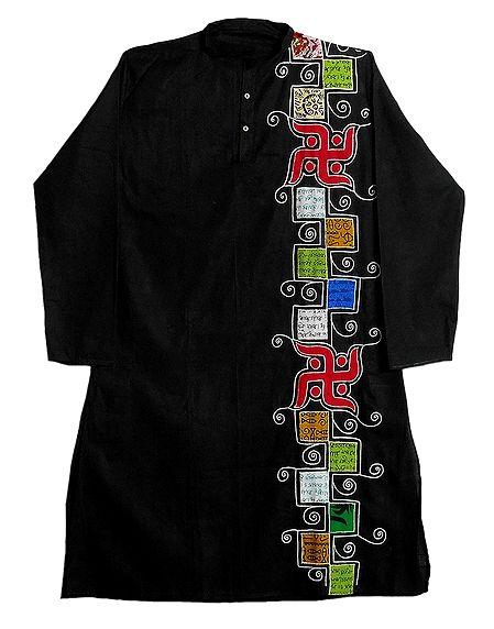 Appliqued Black Cotton Kurta for Men