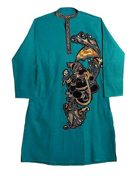 Kantha Embroidery on Mens Appliqued Cotton Kurta