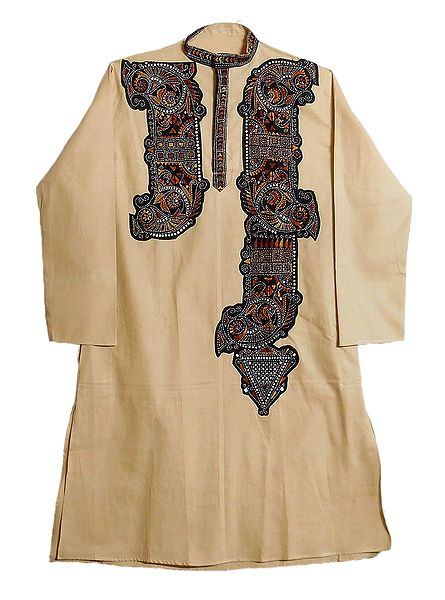 Kantha Stitch on Mens Appliqued Light Beige Cotton Kurta