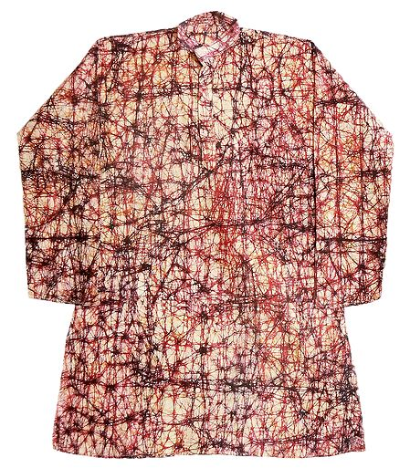 Batik on Mens Off-White Cotton Kurta