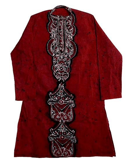 Red Batik Cotton Kurta for Men