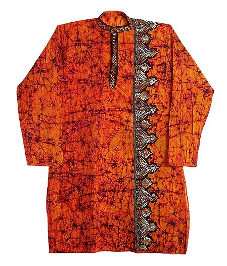 Kantha Stitch Saffron Batik on Mens Cotton Kurta