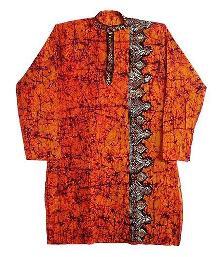 Kantha Stitch Saffron Batik on Mens Cotton Kurta