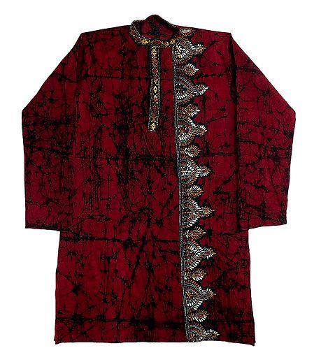 Kantha Stitched Mens Red Batik Cotton Kurta