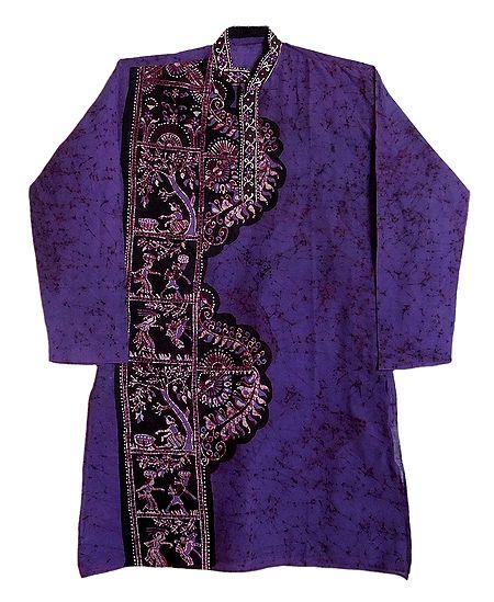 Batik on Dark Mauve Mens Cotton Kurta