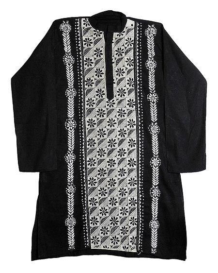 Kantha Stitch Black Cotton Kurta for Men