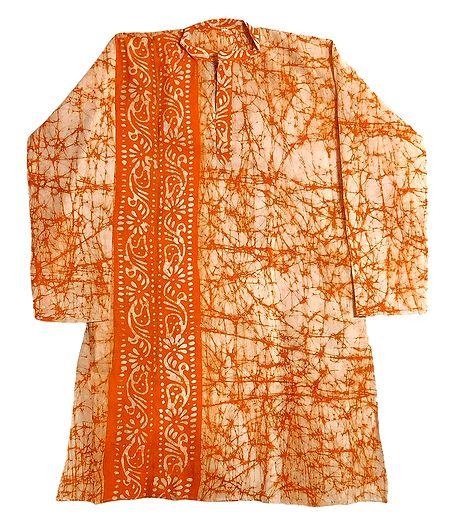 Light Saffron Batik on Off-White Mens Cotton Kurta