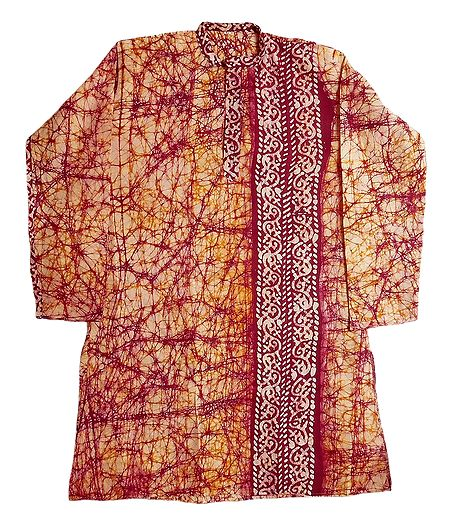 Red Batik on Off-White Mens Cotton Kurta