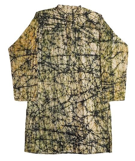 Green Batik on Off-White Cotton Kurta for Men
