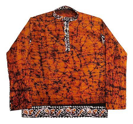 Saffron Batik Short Kurta for Men