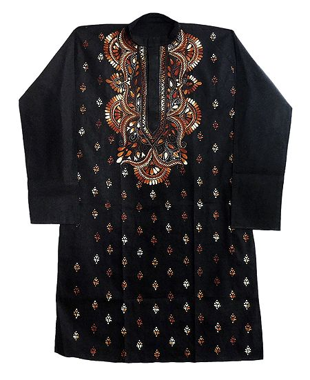 Black Kurta with Kantha Embroidery for Men