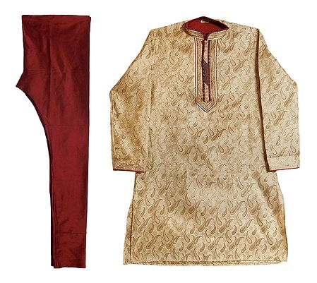 Brocade Silk Kurta and Maroon Churidar