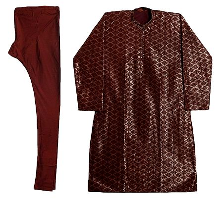 Maroon with Golden Polyester Churidar Kurta for Men