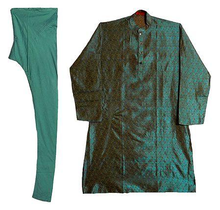 Cyan Blue Cotton Silk Kurta and Churidar for Men
