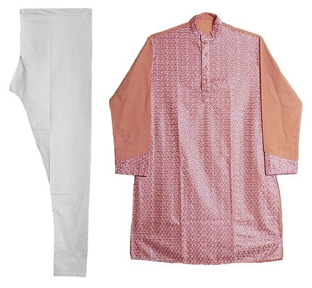 Rose Pink Embroidered Kurta and White Churidar