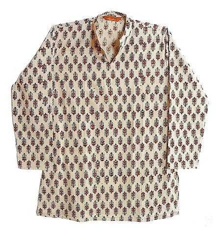 Beige with Maroon Print Mens Long Kurta