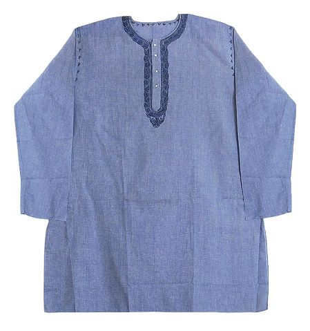 Mens Blue Cotton Kurta with Neckline Embroidery