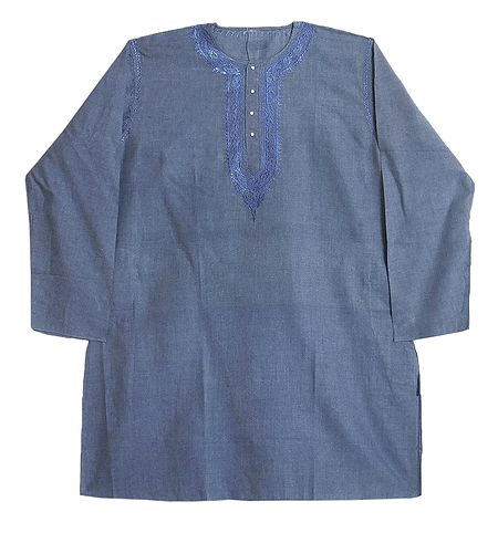 Mens Cotton Kurta with Neckline Embroidery