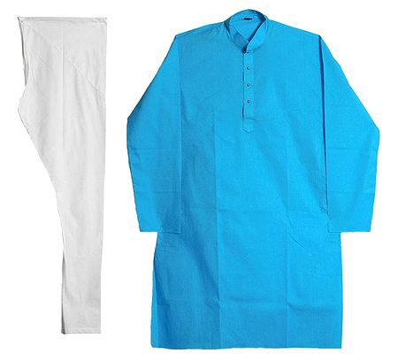 Cyan Blue Kurta and White Pyjama
