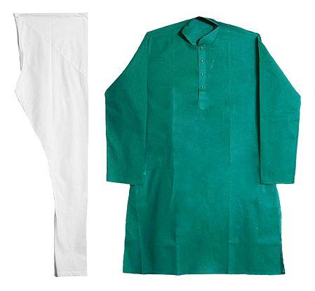 Dark Cyan Stripe on Light Cyan Kurta and White Pyjama for Men