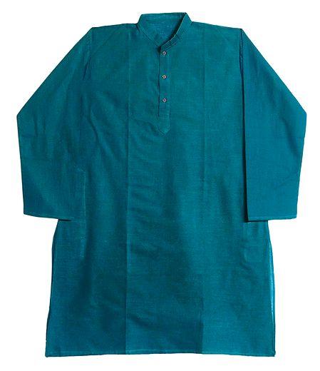 Cyan Blue Cotton Kurta for Men