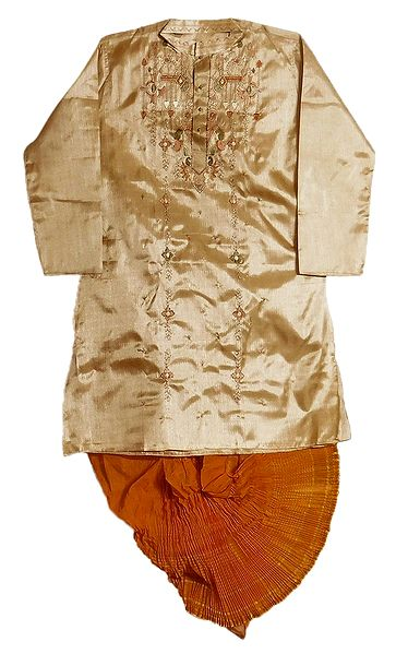 Mens Stitched Dhoti and Embroidered Tussar Kurta