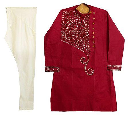 Embroidered Dark Red Kurta with Off-White Churidar