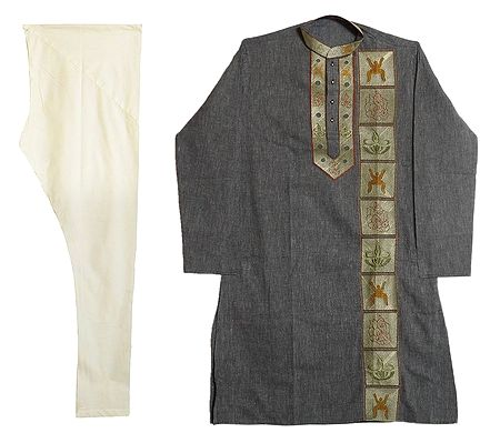 Embroidered Grey Kurta with Off-White Churidar