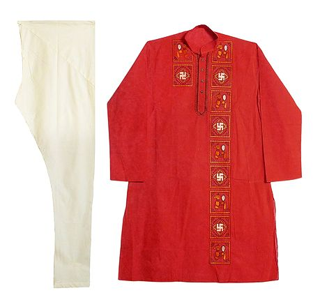 Embroidered Brick Red Kurta and Off-White Churidar