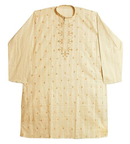 Embroidery on Mens Light Beige Cotton Kurta