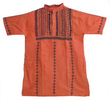 Brick Red Short Kurta with Kantha Stitch for Men