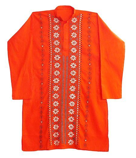 Kantha Stitched Saffron Cotton Kurta