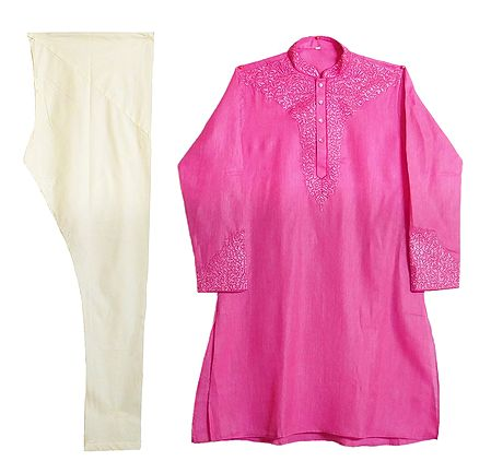 Embroidered Pink Cotton Kurta and Off-white Churidar