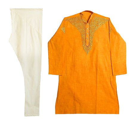 Embroidered Yellow Cotton Kurta and Off-white Churidar
