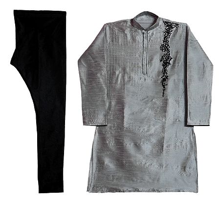 Embroidered Raw Silk Grey Kurta and Black Cotton Churidar for Men