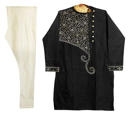 Embroidered Black Kurta with Off-White Churidar