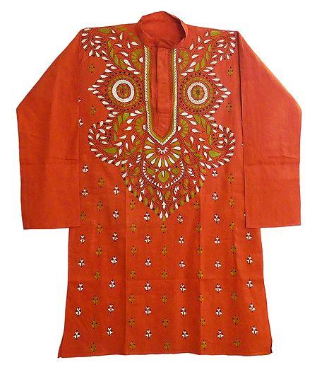 Saffron Cotton Kurta with Kantha Embroidery